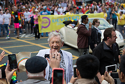 © Licensed to London News Pictures . 29/08/2015 . Manchester , UK . The actor , SIR IAN MCKELLEN , leading the 2015 Manchester Pride parade . Photo credit : Joel Goodman/LNP
