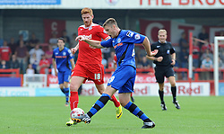 Crawley's Matt Harrold battles with Rochdale's Jack O'Connell  - photo mandatory by-line David Purday JMP- Tel: Mobile 07966 386802 - 06/09/14 - Crawley Town v Rochdale - SPORT - FOOTBALL - Sky Bet Leauge 1 - London - Checkatrade.com Stadium