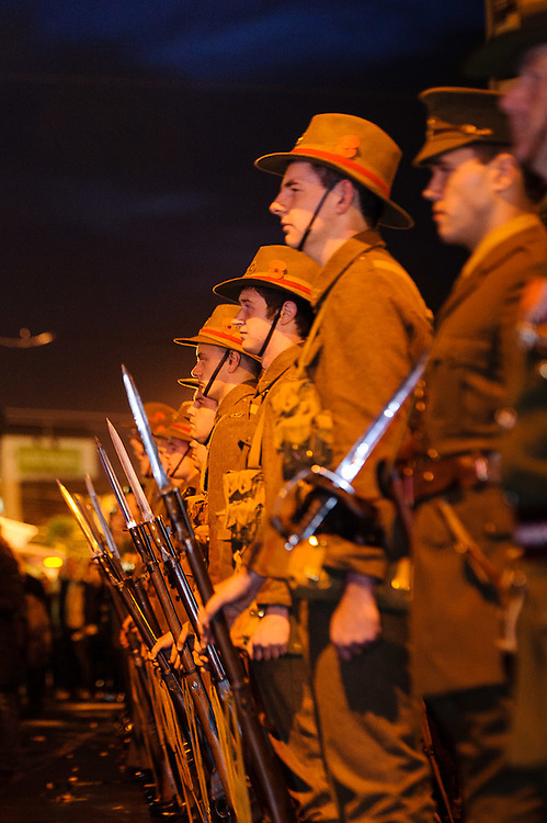 Soldiers lined up at attention at the dawn service of remembrance and hope, 25 April, 2914 Wellington Cenotaph, Lambton Quay. <br /> <br /> Photo by Mark Tantrum | www.marktantrum.com