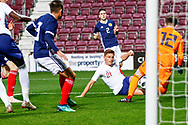 Harvey Barnes England U21s (West Bromwich Albion, loan from Leicester City) tries to get on the end of a rebound  during the U21 UEFA EUROPEAN CHAMPIONSHIPS match Scotland vs England at Tynecastle Stadium, Edinburgh, Scotland, Tuesday 16 October 2018.