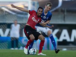 Carlos Zeca (FC København) og Kasper Enghardt (Lyngby Boldklub) under kampen i 3F Superligaen mellem Lyngby Boldklub og FC København den 1. juni 2020 på Lyngby Stadion (Foto: Claus Birch).
