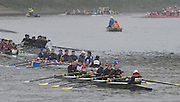 Putney. London, Forground, Hampton School II, crew relaxing before moving upto the start of the  2015  Head of the River Race. Championship Course Putney to Mortlake.  ENGLAND. <br /> <br /> Sunday   29/03/2015<br /> <br /> [Mandatory Credit; Intersport-images]