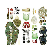 Rusted metal pin, bottle caps, beach china, sea glass, Northern Rock Barnacle (Balanus balanoides), driftwood, bone, action figure, Knotted Wrack (Ascophyllum nodosum), asphalt beach stone, schist beach stones, electrical fittings, oyster shell, mid-20th-century Coke-bottle base, lobster-claw band, plastic toy bit, eroded aluminum, Blue Mussel (Mytilus edulis), U.S. quarter (patinated), and binoculars.<br /> The round-bottom bottle fragment near center was most likely part of a turn-of-the-20th-century ginger ale bottle.        <br /> [This photograph is only available as a limited edition through www.eyebuyart.com]