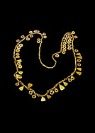 Bronze Age Hattian gold necklace from Grave MA,  possibly a Bronze Age Royal grave (2500 BC to 2250 BC) - Alacahoyuk - Museum of Anatolian Civilisations, Ankara, Turkey. Against a black background .<br /> <br /> If you prefer to buy from our ALAMY PHOTO LIBRARY  Collection visit : https://www.alamy.com/portfolio/paul-williams-funkystock/royal-tombs-alaca-hoyuk-bronze-age.html (TIP refine search by adding background colour in the LOWER search box)<br /> <br /> Visit our ANCIENT WORLD PHOTO COLLECTIONS for more photos to download or buy as wall art prints https://funkystock.photoshelter.com/gallery-collection/Ancient-World-Art-Antiquities-Historic-Sites-Pictures-Images-of/C00006u26yqSkDOM