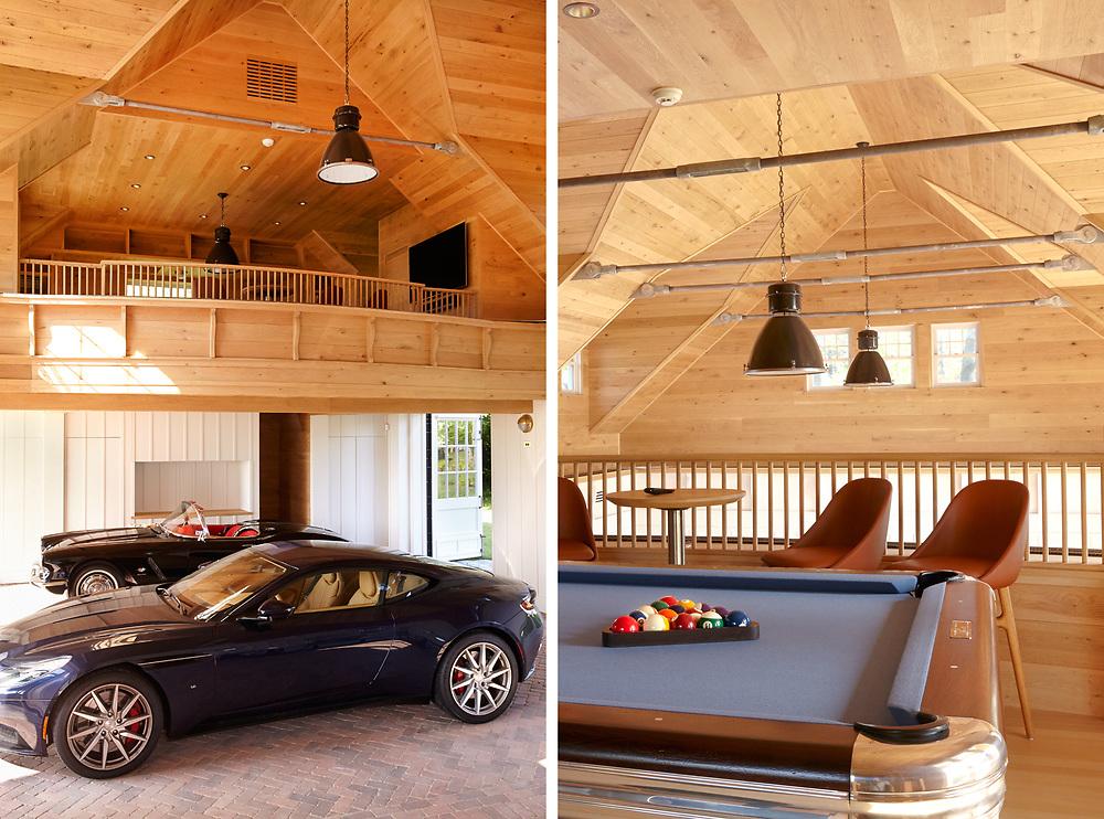 Garage and Loft of Rhode Island Coastal Home. Architecture by Noury-Ello Architects. Interior Design by Christine Lane Interiors