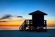 Lifeguard shack at sunset, Siesta Key Beach, Florida, USA.