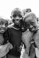 A group portrait of a young children in an Irente village in the Usambara Mountains, Lushoto in Tanzania, Africa