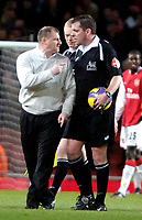 Photo: Ed Godden/Sportsbeat Images.<br /> Arsenal v Wigan Athletic. The Barclays Premiership. 11/02/2007. An angry Paul Jewell (Wigan Manager) confronts Referee P. Dowd at the end of the game.
