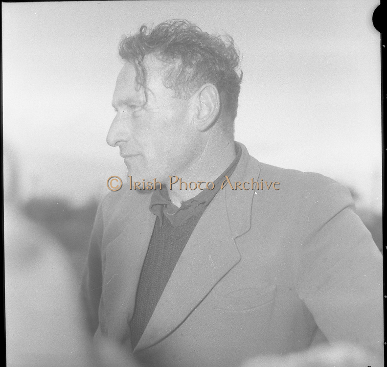 Lead Mines at Loughrea..1962..08.01.1962..01.08.1962..8th January 1962..Prospecting started in Loughrea in what is thought to be lead deposits beneath the lands of several small farms in the area...Image shows Mr Frank Regan,one of the farmers, under whose land lead deposits may be found.