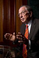 """2008, BERLIN/GERMANY:<br /> Samuel Augustus """"Sam"""" Nunn, US-amerikanischer Geschäftsmann und Politiker der Demokraten, ehem. Senator im US-Senat, waehrend einem Interview, Hotel Adlon<br /> IMAGE: 20080612-01-008"""