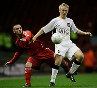 Fotball<br /> England<br /> Foto: Propaganda/Digitalsport<br /> NORWAY ONLY<br /> <br /> Liverpool, England - Monday, April 16, 2007: Liverpool's Ryan Wignall and Manchester United's Daniel Galbraith during the FA Youth Cup Final 1st Leg at Anfield.