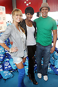 l to r: Leah Renee, Ciara and Chaske Spencer at The 2nd Annual Staples/Do Something 101 Volunteer Event held at The Children's AID Society Dunlevy Milbank Boys & Girls Club in Harlem on August 4, 2009 in New York City
