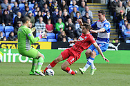 Southampton's Jay Rodriguez (9) beats Reading keeper Adam Federici to score his sides 1st goal.  Barclays Premier league, Reading v Southampton at the Madejski stadium in Reading on Saturday 6th April 2013. pic by Andrew Orchard, Andrew Orchard sports photography,