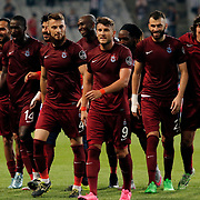 Trabzonspor's players during their Turkish Super League soccer derby match Besiktas between Trabzonspor at the Ataturk Olimpiyat stadium in Istanbul Turkey on Saturday, 22 August 2015. Photo by Aykut AKICI/TURKPIX