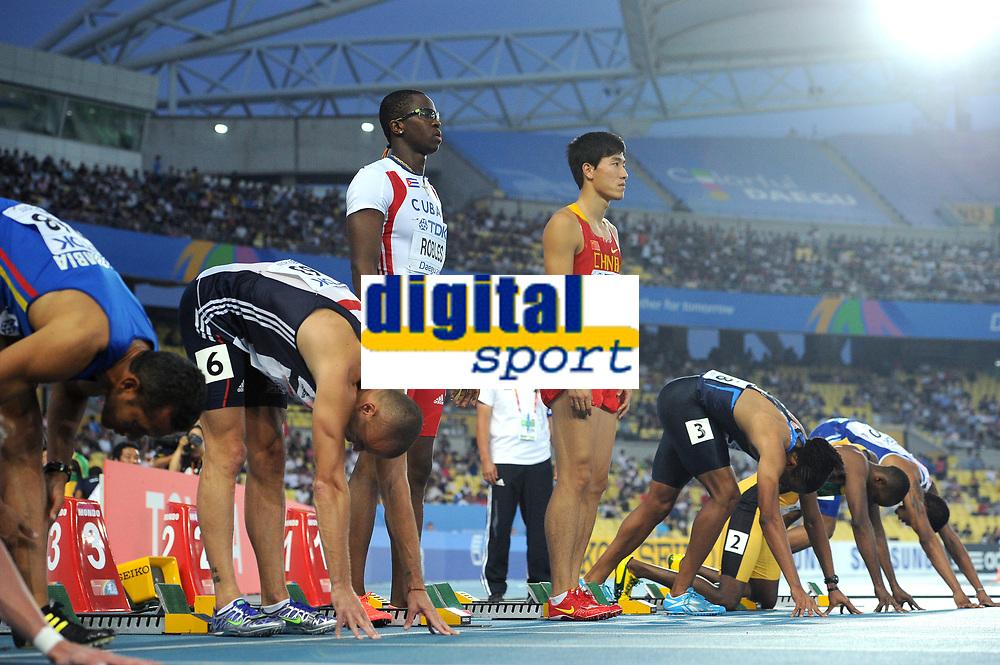ATHLETICS - IAAF WORLD CHAMPIONSHIPS 2011 - DAEGU (KOR) - DAY 3 - 29/08/2011 - 110M HURDLES - DAYRON ROBLES (CUB) - XIANG LIU (CHN) - PHOTO : FRANCK FAUGERE / KMSP / DPPI