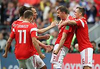 Football - 2018 FIFA World Cup - Group A: Russia vs. Saudi Arabia<br /> <br /> Artem Dzyuba of Russia celebrates scoring his side's third goal at the Luzhniki Stadium, Moscow.<br /> <br /> COLORSPORT/IAN MACNICOL