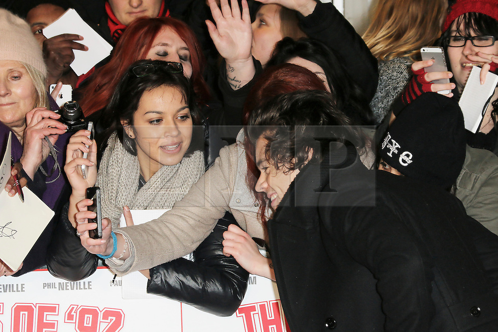 © Licensed to London News Pictures. Harry Styles of One Direction attends The Class of 92  World Film Premiere at The Odeon West End, Leicester Square, London on 01 December 2013. Photo credit: Richard Goldschmidt/LNP