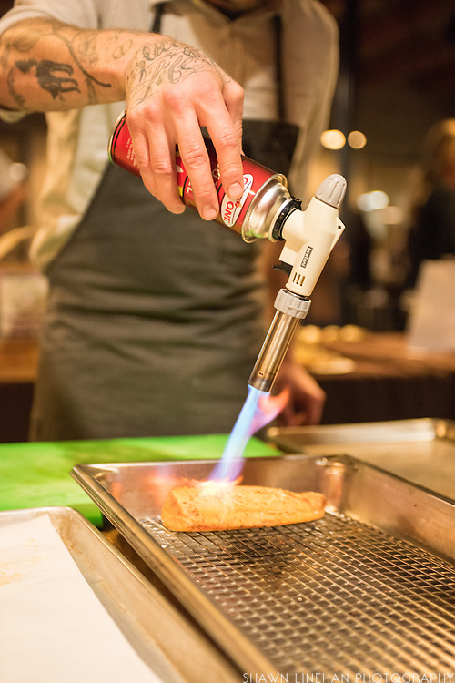 Timothy Wastell searing Albacore Tuna that was cured in fermented Gypsy Queen peppers.