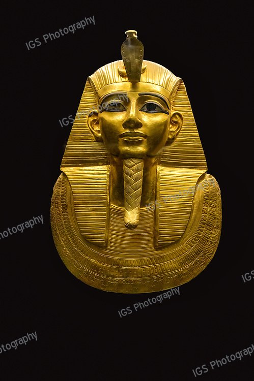 The gold death Mask of  King Psusennes in the Egyptian Museum, Cairo