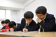 The students Hyung min Shin and Ye jun Seo at the Shinil High School, Seoul, South Korea.