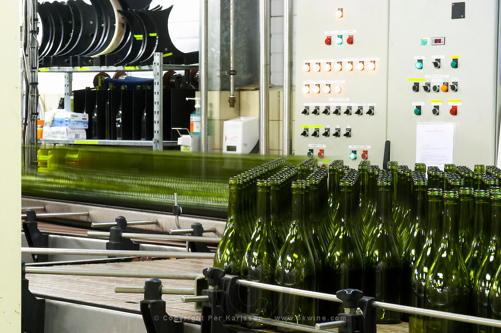 Mas La Chevaliere. near Beziers. Languedoc. Bottling line. Bottling and boxing line. France. Europe.
