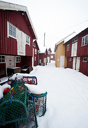 Traditional fishing village Smogen during winter after snow on Bohuslan coast in Sweden