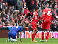 Mario Balotelli of Liverpool is ushered away from confrontation with John Terry of Chelsea - Barclays Premier League - Liverpool vs Chelsea - Anfield Stadium - Liverpool - England - 8th November 2014  - Picture Simon Bellis/Sportimage