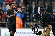 Jamaal Lascelles of Newcastle Utd celebrates towards a television camera at the final whistle after his goal gave them a 1-0 victory. Premier league match, Swansea city v Newcastle Utd at the Liberty Stadium in Swansea, South Wales on Sunday 10th September 2017.<br /> pic by  Andrew Orchard, Andrew Orchard sports photography.