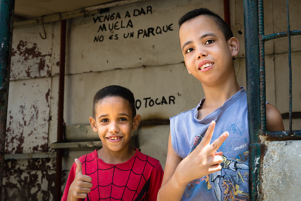 Portrait of two young Cuban boys