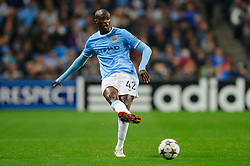 Man City Midfielder Yaya Toure (CIV) in action during the first half of the match - Photo mandatory by-line: Rogan Thomson/JMP - Tel: Mobile: 07966 386802 - 02/10/2013 - SPORT - FOOTBALL - Etihad Stadium, Manchester - Manchester City v Bayern Munich - UEFA Champions League Group D.