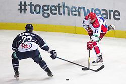 Alexander Radulov of CSKA Moscow vs Sasa Martinovic of KHL Medvescak Zagreb during KHL League ice hockey match between KHL Medvescak Zagreb and CSKA Moscow, on September 18, 2014 in Dvorana Sportova, Zagreb, Croatia. (Photo By Matic Klansek Velej / Sportida)