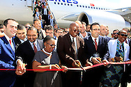 DURBAN - 5 November 2015 - Dignitaries cut the ribbon to officialy inaugurate  Turkish Airlines new route from Durban to Isttanbul. The Airbus A330-300 to arrived at Durban's King Shaka International Airport was the first flight of the service, which will see the airline operate four times a week between Durban and Istanbul via Johannesburg. Among those in the picture are the King Shaka airport manager Terence Delomoney (2nd from right) , eThekwini deputy mayor Nomvuzo Shabalala (3rd from right), the KwaZulu-Natal economic evelopment and tourism MEC Mike Mabuyakhulu (4th from right) and urkish Airlines chairman İlker Aycı. Picture: Allied Picture Press/APP