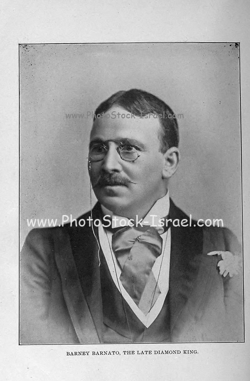 Barney Barnato, The late Diamond King [Barney Barnato (21 February 1851 – 14 June 1897), born Barnet Isaacs, was a British Randlord, one of the entrepreneurs who gained control of diamond mining, and later gold mining, in South Africa from the 1870s. He is perhaps best remembered as being a rival of Cecil Rhodes]. from the book ' Boer and Britisher in South Africa; a history of the Boer-British war and the wars for United South Africa, together with biographies of the great men who made the history of South Africa ' By Neville, John Ormond Published by Thompson & Thomas, Chicago, USA in 1900