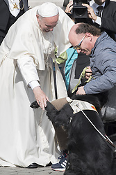October 19, 2016 - Vatican City, Vatican - Pope Francis played with a dog during his weekly general audience in St. Peter's Square at the Vatican, Wednesday, October 19, 2016. (Credit Image: © Massimo Valicchia/NurPhoto via ZUMA Press)