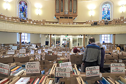 Journalist Kirsty Wark is photographed ahead of the Christian Aid week George Street book sale. Items on sale include first editions of George Orwell's 1984 and Animal Farm, a second edition of Walter Scott's Rob Roy and a signed first edition limited edition copy of TS Elliott's Dante. The sale will take place on Saturday. St Andrew's and St George's West Church, George Street, Edinburgh<br /> <br /> Pictured: General view of browsing books<br /> <br /> Alex Todd | Edinburgh Elite media