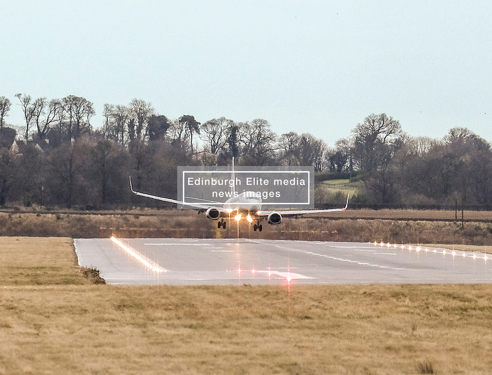 High Winds at Edinburgh Airport, Tuesday 7th January 2020<br /> <br /> Planes struggled on landing and take-off as high winds hit Edinburgh Airport today<br /> <br /> Pictured: A Ryanair flight lands<br /> <br /> Alex Todd | Edinburgh Elite media