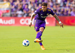 April 8, 2018 - Orlando, FL, U.S. - ORLANDO, FL - APRIL 08: Orlando City forward Dom Dwyer (14) passes the ball during the MLS soccer match between the Orlando City FC and the Portland Timbers at Orlando City SC on April 8, 2018 at Orlando City Stadium in Orlando, FL. (Photo by Andrew Bershaw/Icon Sportswire) (Credit Image: © Andrew Bershaw/Icon SMI via ZUMA Press)