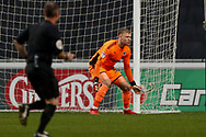 Wimbledon goalkeeper Aaron Ramsdale (35), on loan from Bournemouth, in action  during the EFL Sky Bet League 1 match between Coventry City and AFC Wimbledon at the Ricoh Arena, Coventry, England on 12 January 2019.