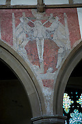 Medieval painting Christ crucifixion, Church of Saint Michael, Framlingham, Suffolk