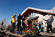 """Italy, Madonna di Campiglio, afternoon dancing at """"Boch"""" refuge"""