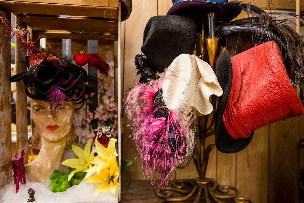 Fancy hats and fascinators on display.