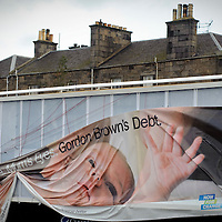 View of a fallen Conservative Party poster stating the slogan Gordon Browns Debt in Edinburgh's Granton Area.  Britain's economy is about to suffer its most vicious slump since 1946, as fears over the scale of the recession mounted despite the new banking bailout.