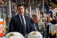 KELOWNA, BC - NOVEMBER 03:  David Anning, head coach of the Brandon Wheat Kings stands on the bench against the Kelowna Rockets at Prospera Place on November 3, 2018 in Kelowna, Canada. (Photo by Marissa Baecker/Getty Images) ***Local Caption***David Anning;