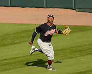 CHICAGO - MAY 23:  Rajai Davis #20 of the Cleveland Indians fields against the Chicago White Sox during game one of a double header on May 23, 2016 at U.S. Cellular Field in Chicago, Illinois.  The White Sox defeated the Indians 7-6.  (Photo by Ron Vesely)   Subject:   Rajai Davis