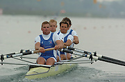 FISA World Cup Rowing Munich Germany..27/05/2004..Thursday morning opening heats...Heat men's four GBR M4-.Stroke Matthew Pinsent, Alex Partridge, James Cracknell and Steve Wiliams. [Mandatory Credit: Peter Spurrier: Intersport Images].