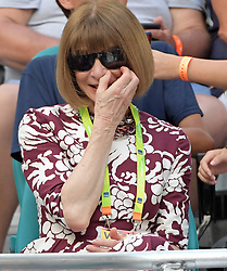 March 23, 2019 - Miami Gardens, Florida, United States Of America - MIAMI GARDENS, FLORIDA - MARCH 23:  Anna Wintour looks miserable in the bright light even with her shades on. Day 6 of the Miami Open Presented by Itau at Hard Rock Stadium on March 23, 2019 in Miami Gardens, Florida..People: Anna Wintour. (Credit Image: © SMG via ZUMA Wire)