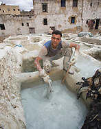 Man dying skins in centuries-old tannery, Fez, Morocco