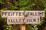 Pfeiffer Falls sign, Pfeiffer Big Sur State Park, Big Sur, California