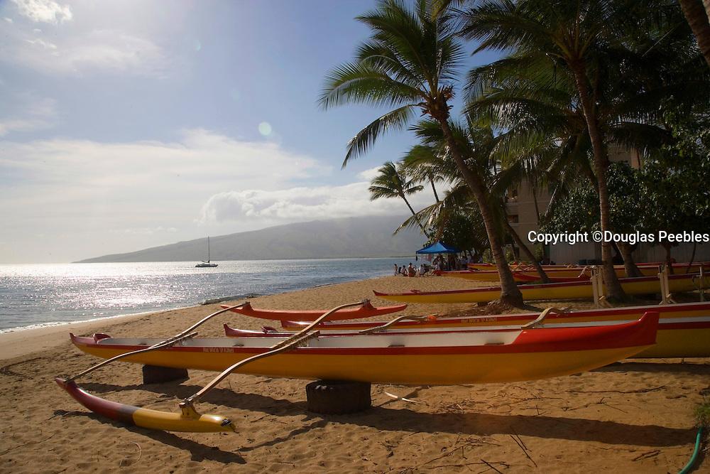Outrigger Canoes, Mai Poina Oe Iau Beach Park, Kihei, Maui, Hawaii