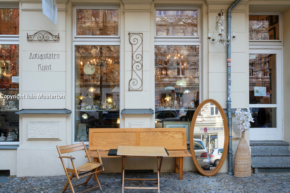 Antique shop in gentrified district of Prenzlauer Berg in Berlin, Germany